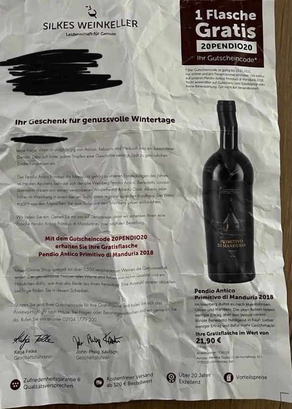 GRATIS Primitivo Rotwein im Wert von 21,90€ [Silkes Weinkeller]