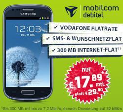 Mobeilcom Debitel Tarif bei PaulDirekt.de 4-fach Flat für 8,88 effektiv, oder mit Samsung Galaxy S3 mini für 17,89