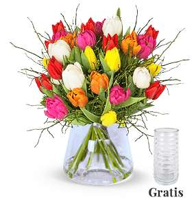 Tulpenstrauß Modern Love (20 bunte Tulpen mit Heidelbeeren, inkl. Vase, 7-Tage Frischegarantie)