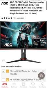 AOC WQHD 144Hz Monitor