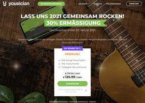 30% bzw. 82% auf YOUSICIAN Yearly Premium+ Subscription