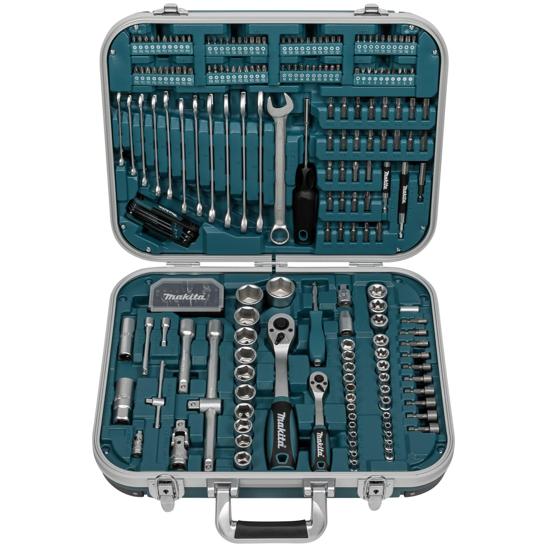 Makita P-90532 Heimwerker Werkzeugset, inkl. Bitset & Steckschlüssel, im Koffer (227teilig)