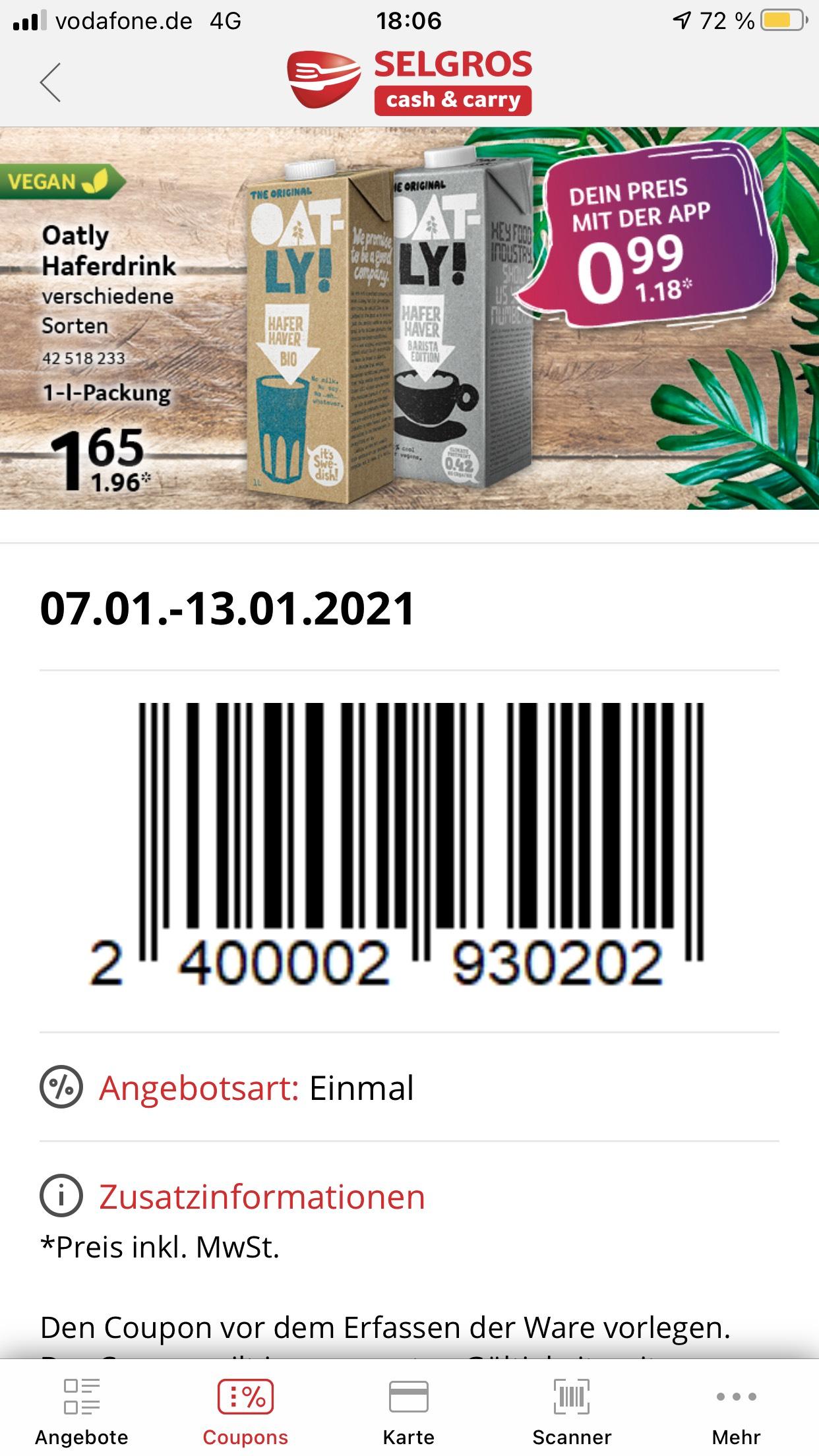 [SELGROS] Oatly Haferdrink (auch Barista) lokal für 1,18 €/l - 1,05 €/l möglich