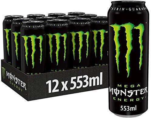 Monster Energy Mega mit klassischem Monster Geschmack - Energy Drink Palette, wiederverschließbare EINWEG Dose (12 x 553 ml)