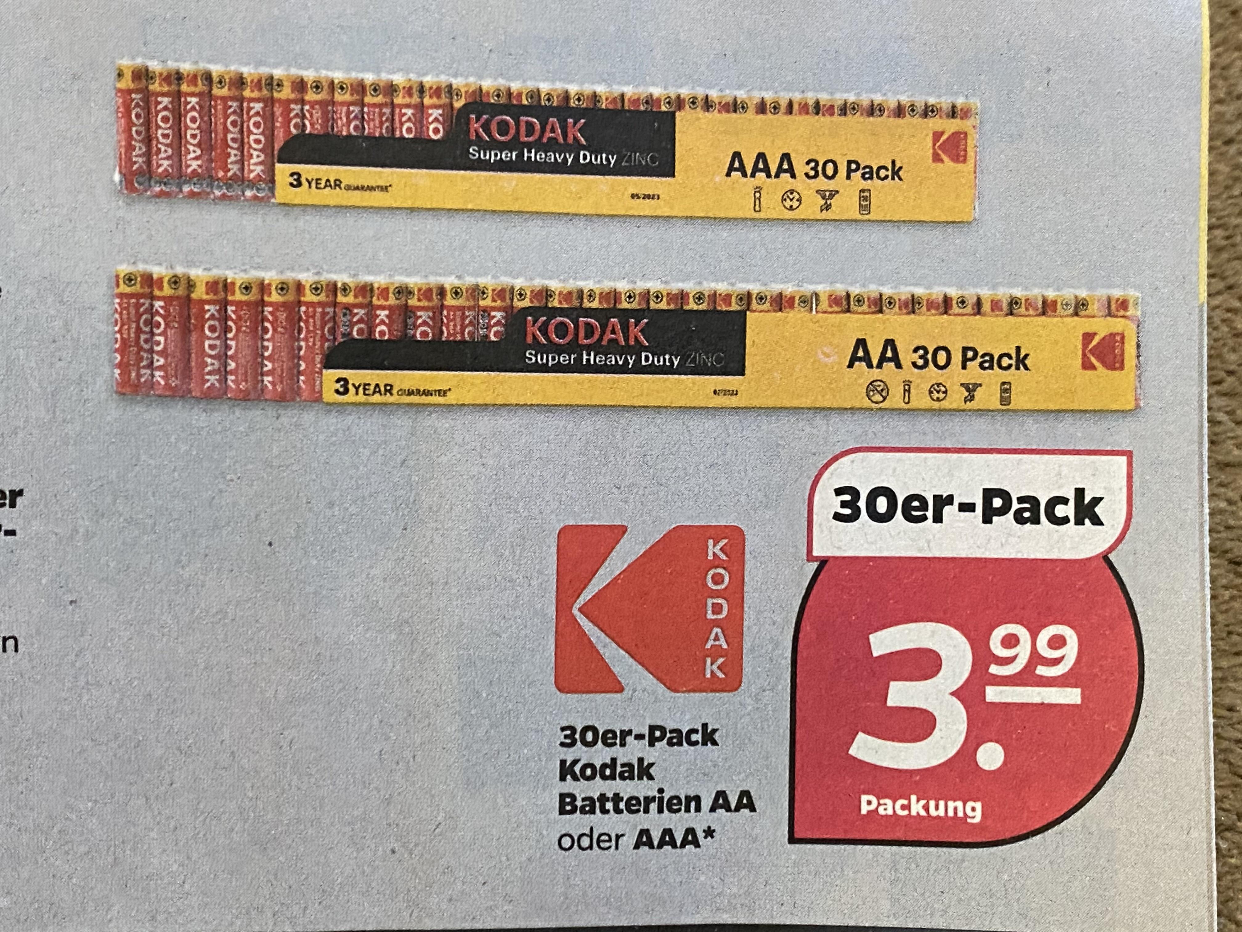 AA & AAA Batterien 30er Pack Kodak ab 14.01.-16.01. Netto schwarz/gelb