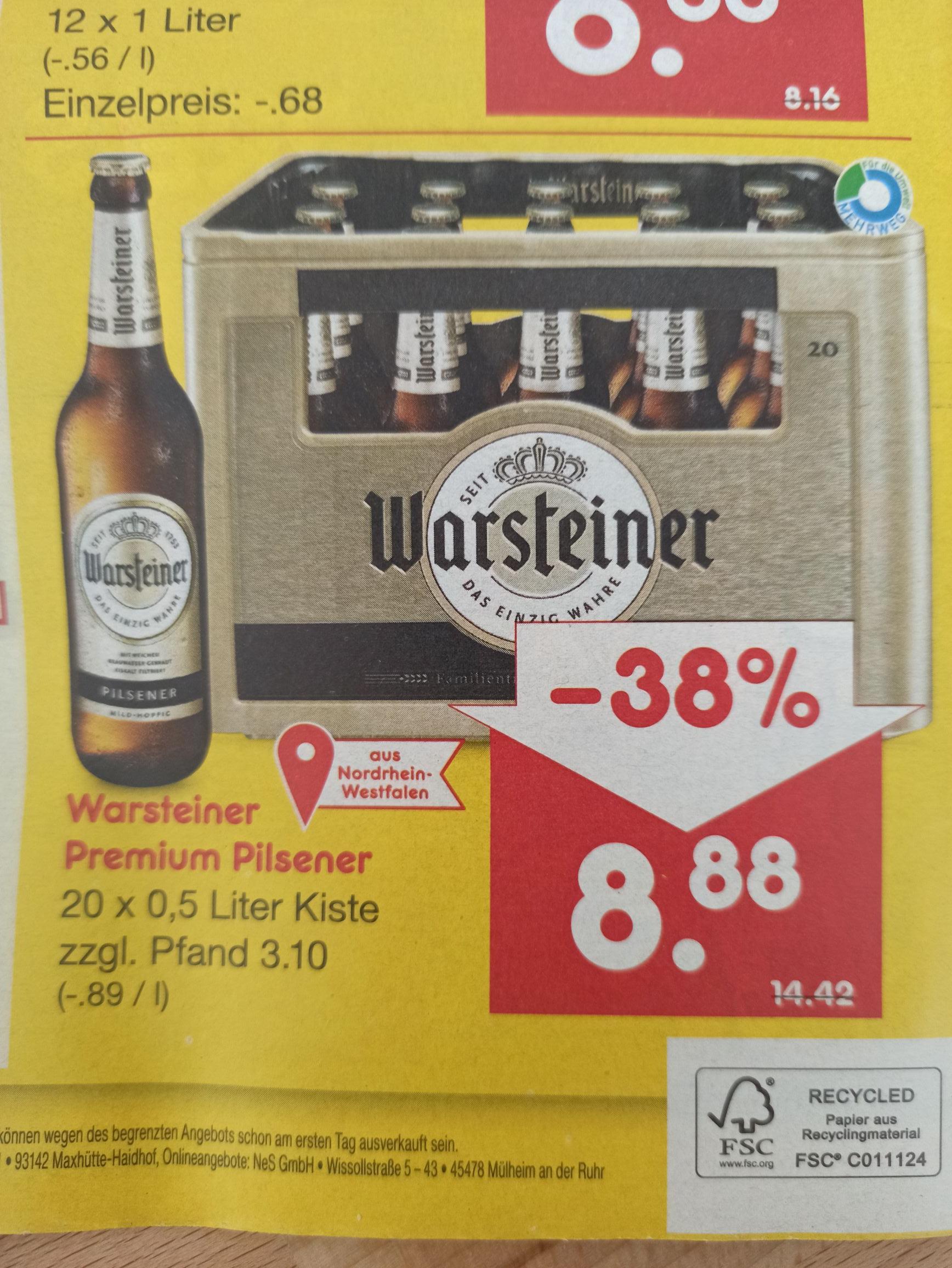 [Netto MD] [Lokal] Warsteiner Premium Pils - 20 x 0,5 Liter Kiste Bier - 8,88€ je Kasten