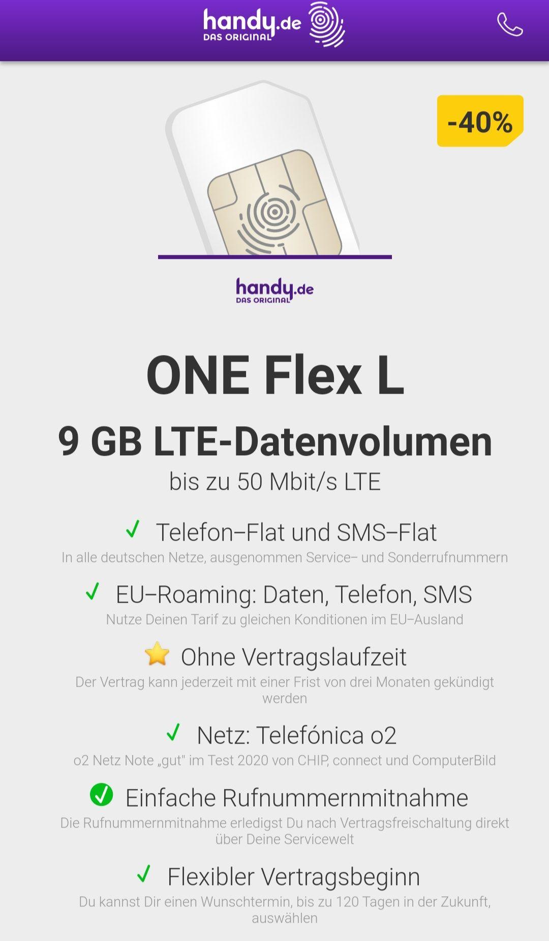 Handy.de - O2 - 9 GB nur 8,99 EUR - ohne Vertragslaufzeit - inkl. Telefonie- und SMS-Flat - Einmalige Anschlusskosten 19,99€.
