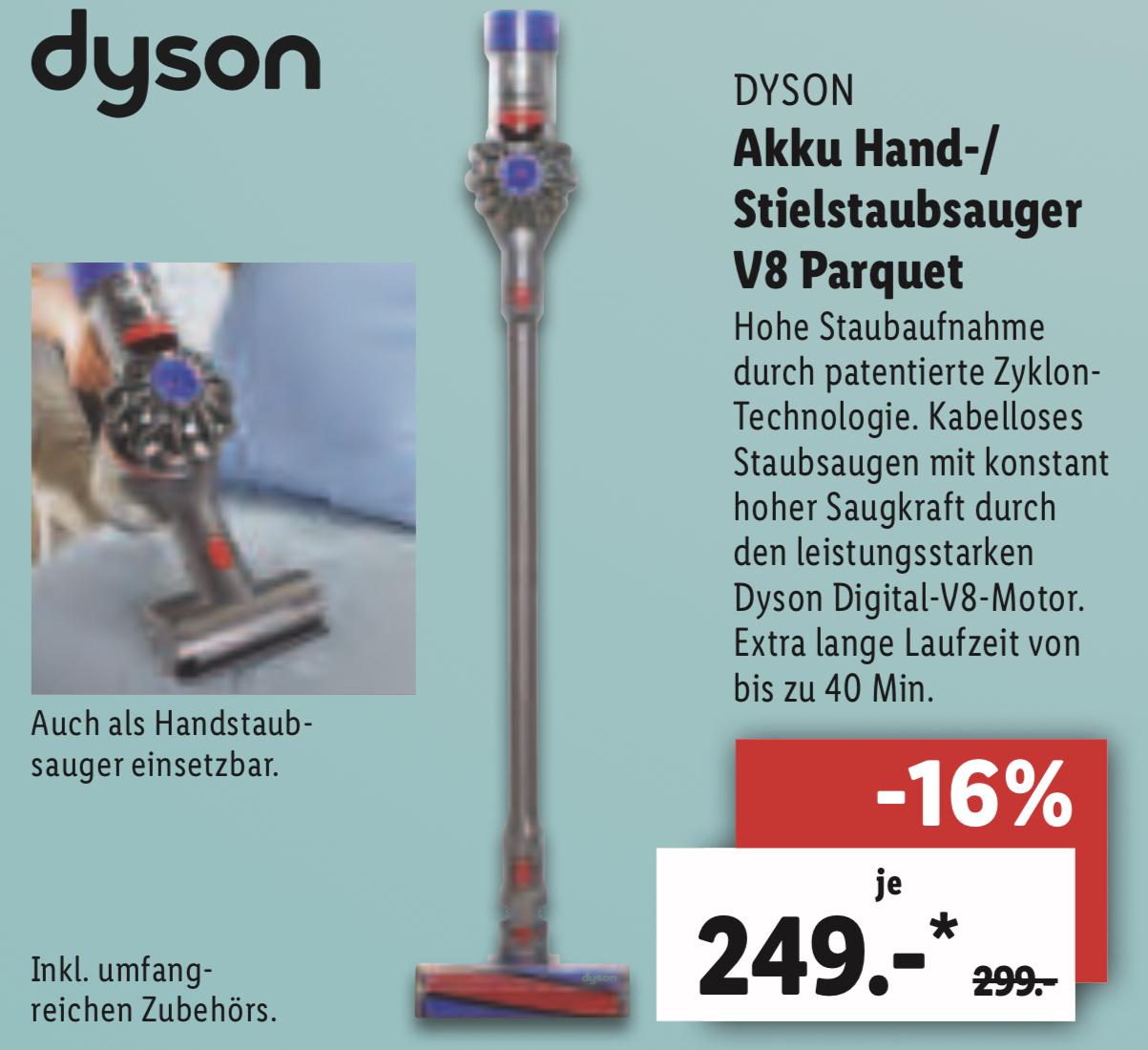 Lidl Stuttgart: Dyson V8 Parquet Akku Handstaubsauger inkl. umfangreichen Zubehör für 244€ / Grundig 123cm 49 Zoll fire TV Edition für 244€