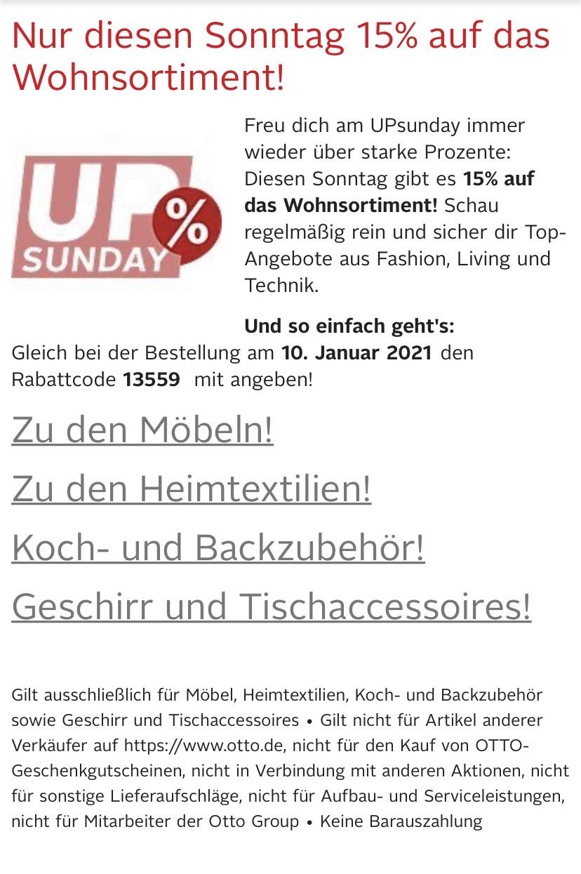 OTTO - Nur diesen Sonntag 15% auf das Wohnsortiment!