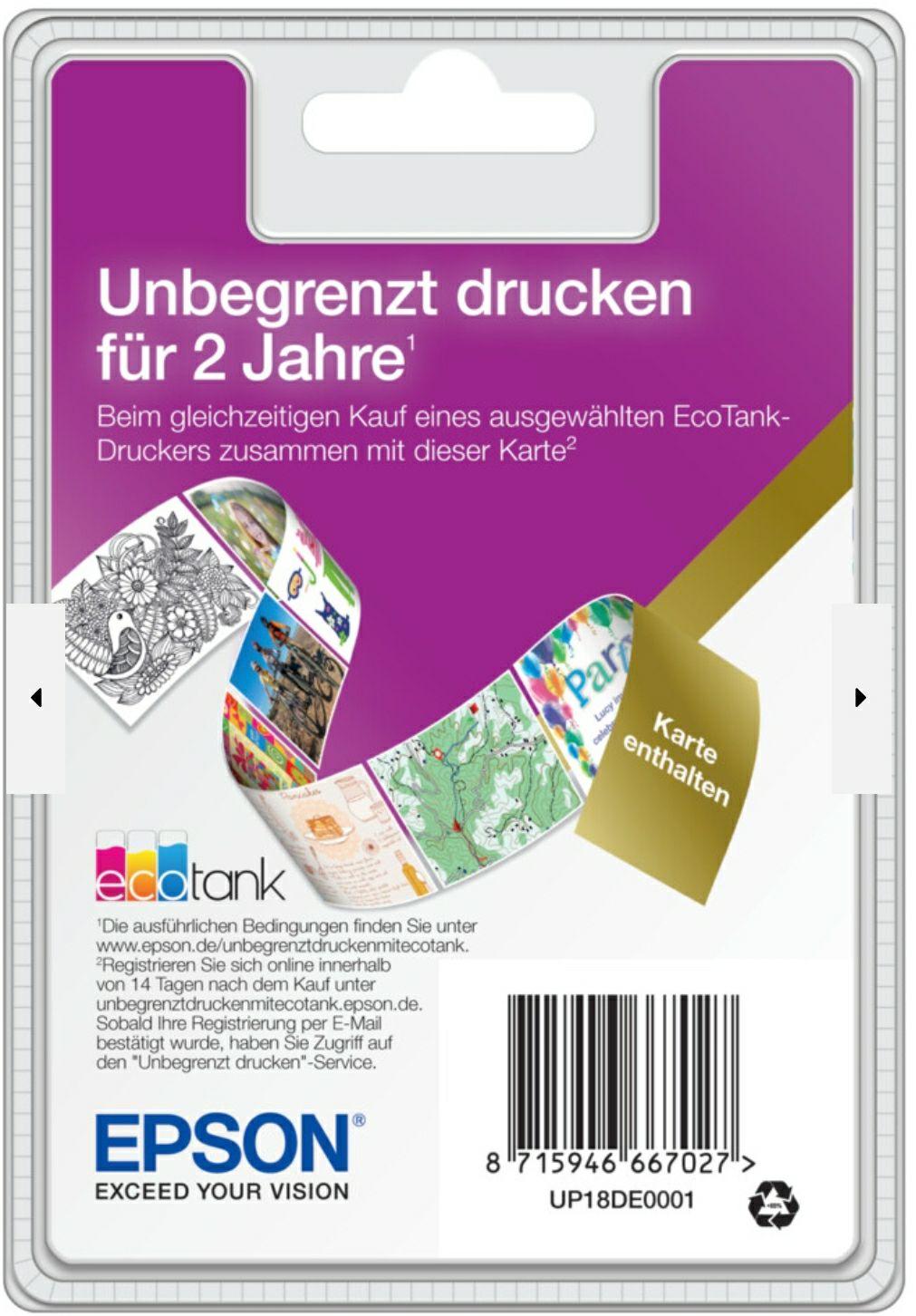 """Epson EcoTank """"Unbegrenzt drucken""""-Karte (unlimited printing)für EcoTank Drucker"""
