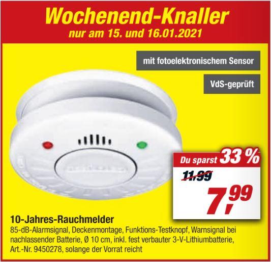 VdS-zertifizierter 10-Jahres-Rauchmelder (Smartwares) für 7,99 Euro [Toom Filiale - reservieren und abholen]