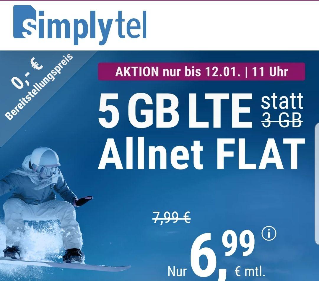 Bis 12.01 um 11 Uhr.: 5 GB LTE (50MBit/s) Internet Flat + Telefonie, SMS, EU Roaming für 6,99 € pro Monat im Telefonica Netz (O2)