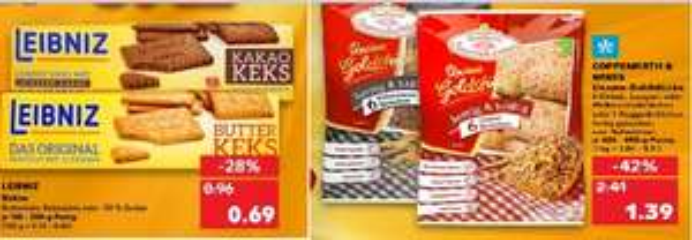 [Regional Kaufland Leipzig Paunsdorf Center ab 14.01] Leibniz Butter,-Kakao Kekse für 0,69€ / Coppenrath Goldstücke Kernig für 1,39€