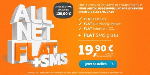 All-Net Flat + SMS Flat + Internet Flat für 19,90€/Monat