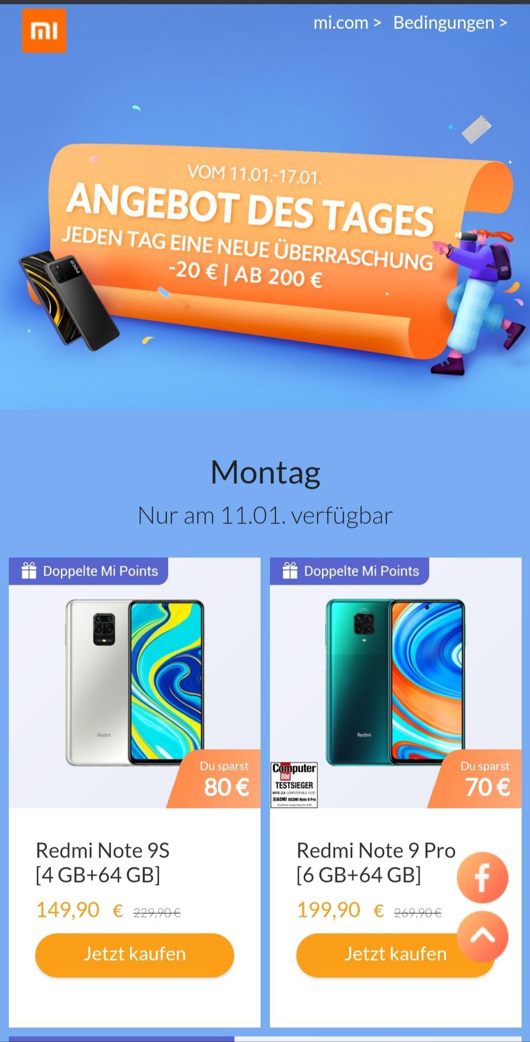 Xiaomi Mi Store 20 Euro Rabatt ab 200 Euro