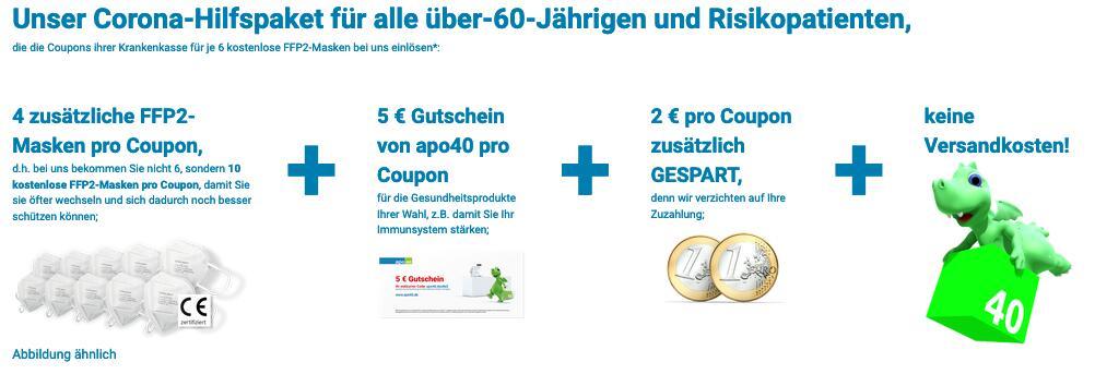 10 FFP2 Masken Ü60 oder Risikopatienten mit Coupon kostenlos + 5€ Gutschein