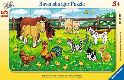 [Amazon Prime] Ravensburger Kinderpuzzle 06046 - Bauernhoftiere auf der Wiese - Rahmenpuzzle, 15 Teile, ab 3 Jahren
