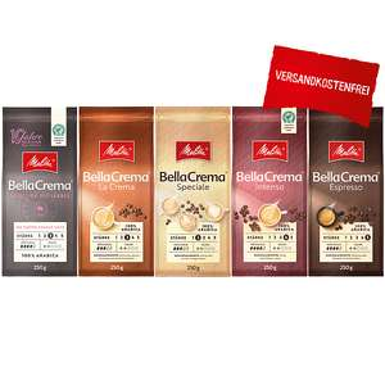 [Melitta] BellaCrema® Probierset 2021, Kaffeebohnen, 1250g VSK frei mit 20,21% Rabatt, 6,38€/kg