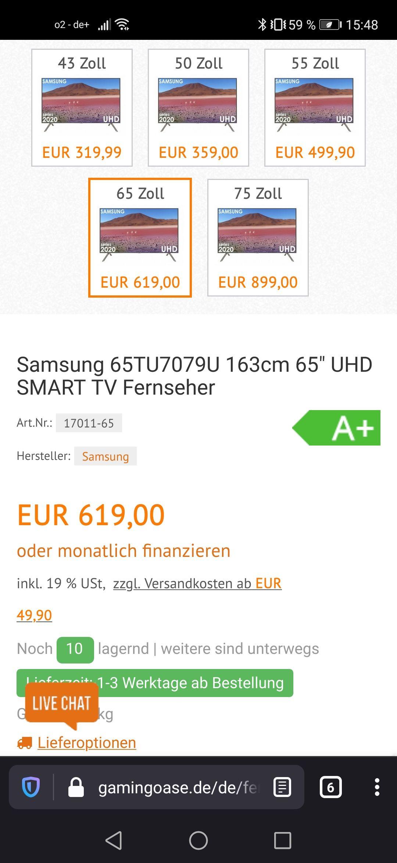 "Samsung 65TU7079U 163cm (65"") UHD Smart TV Fernseher"