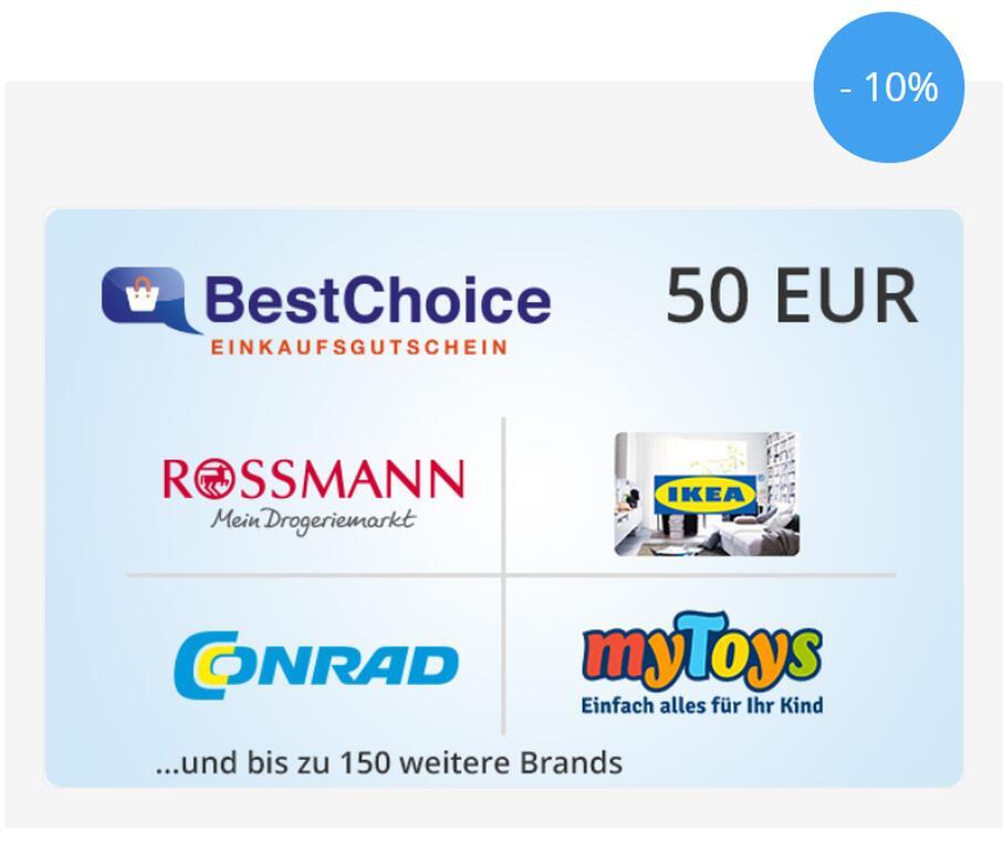 50€ BestChoice Gutschein für 45€, maximal 550€ pro Bestellung - Zahlung nur mit Mastercard&Visa [Postbank,Wüstenrot,Gothaer,FYRST Kunden]