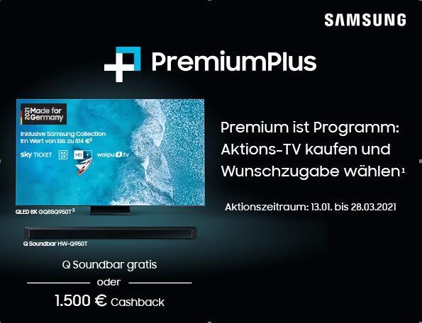 SAMSUNG Aktions-TV kaufen und bis zu 1.500€ CB oder eine Q Soundbar sichern.