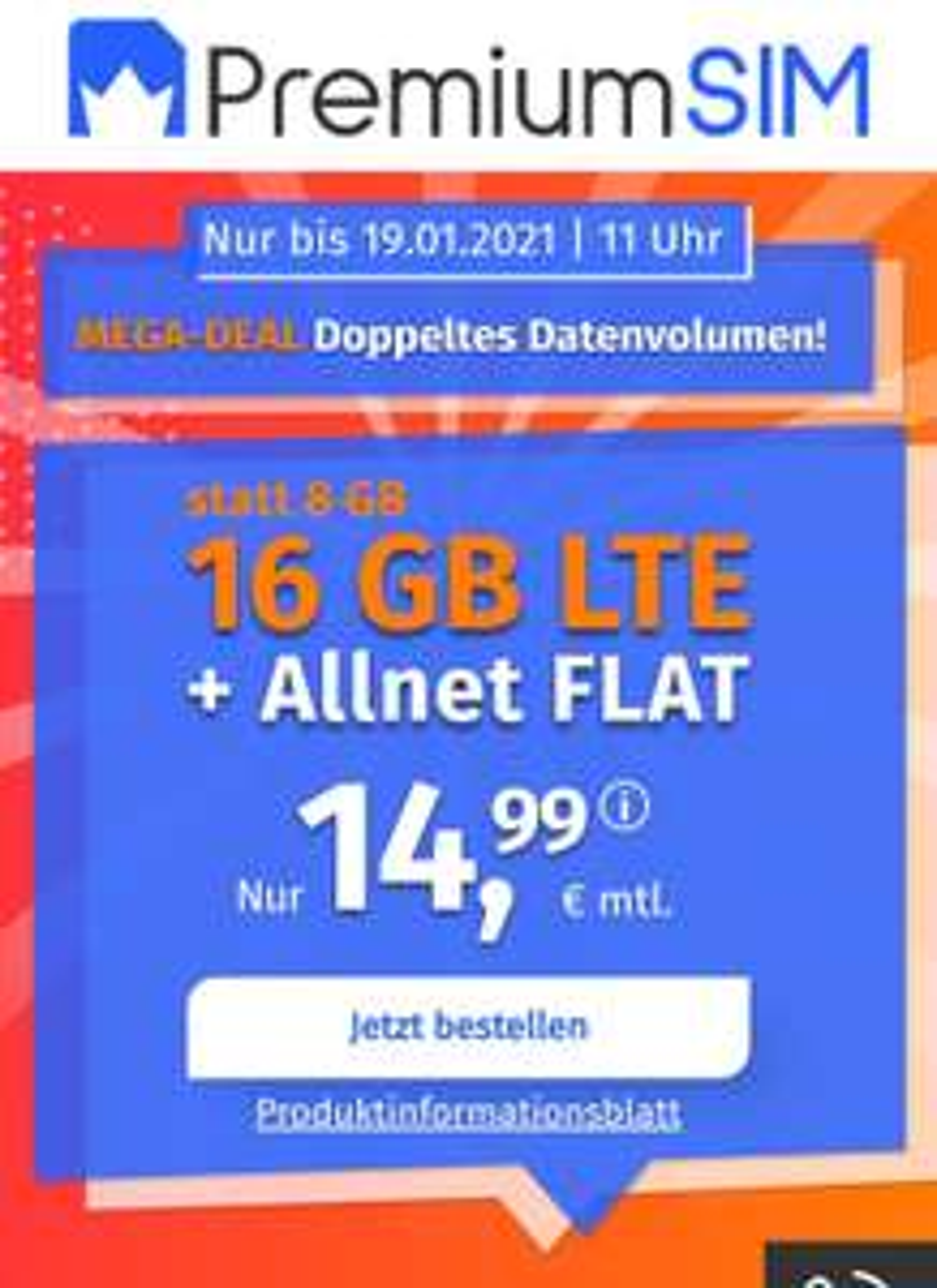 16GB LTE Allnet Flat (monatlich 14,99€)
