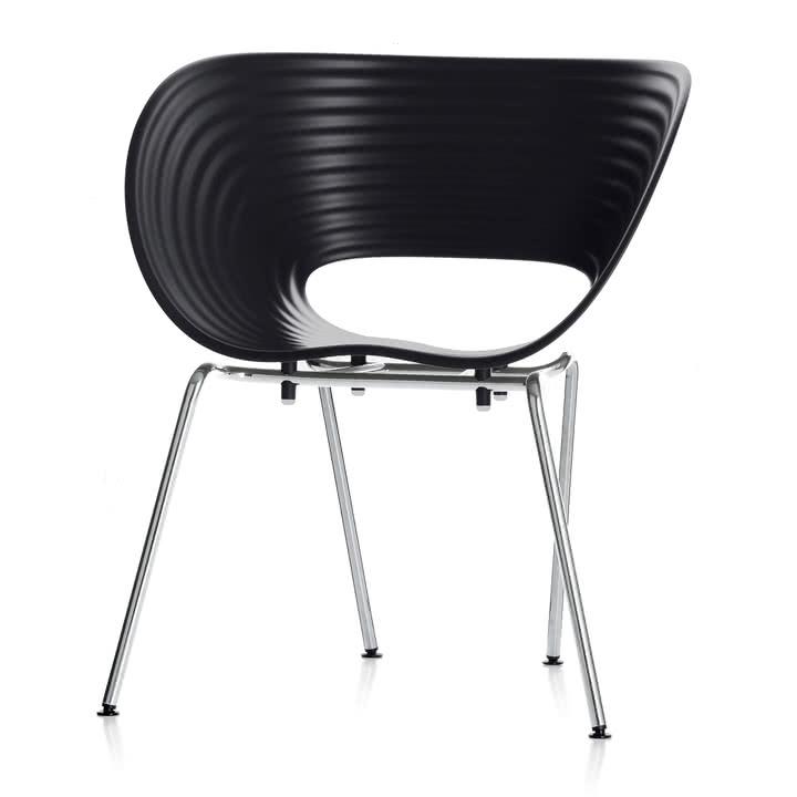 Vitra Stuhl Tom Vac in schwarz - Designerstuhl für drinnen und draußen
