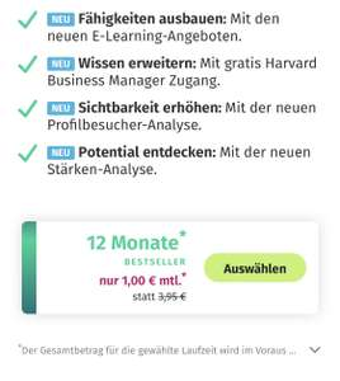 XING Premium 12€ für ein Jahr (womöglich nur Studenten personalisiert)