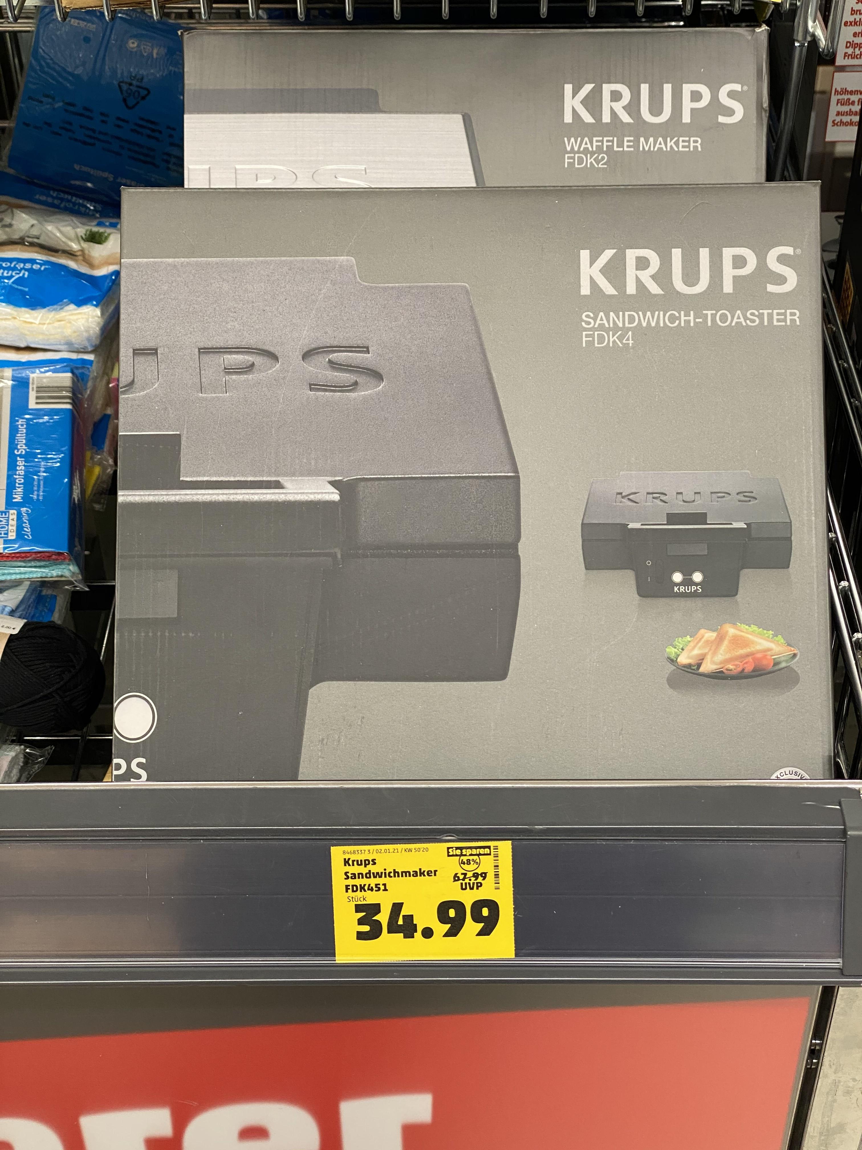 [Penny Offline] Minimalistischer Krups FDK451 Sandwich-Toaster/Maker 850W
