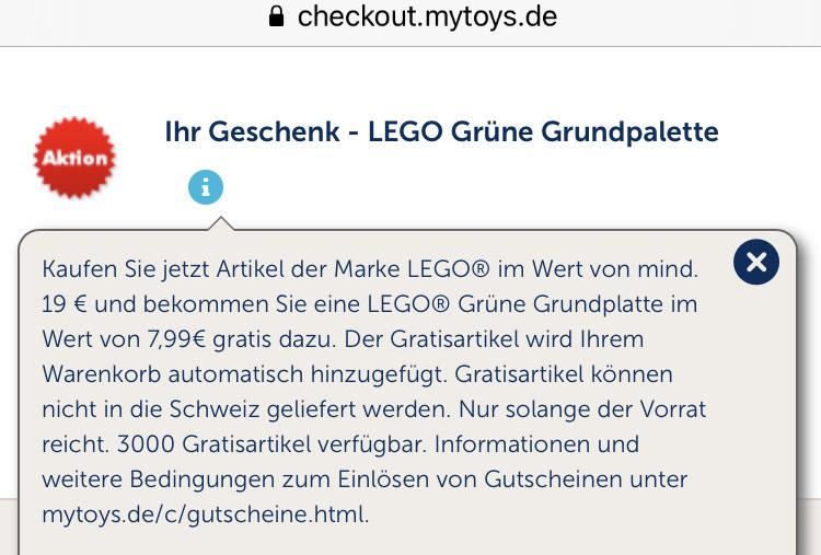 Kostenlose Lego Grundplatte Grün bei MBW 19€