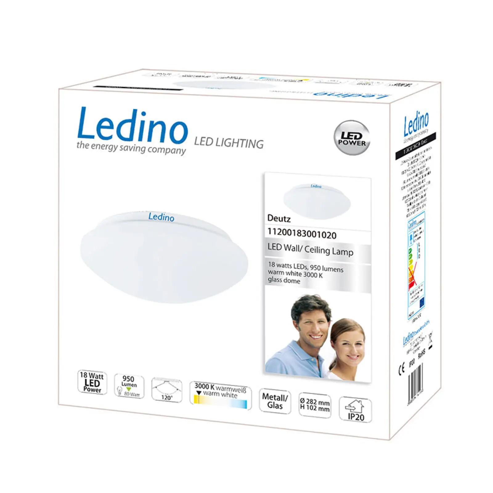 Ledino LED-Deckenleuchte Deutz mit Glaskuppel A+ (18 W, 3.000 K, 950 lm, IP20, Durchmesser 28,2cm)