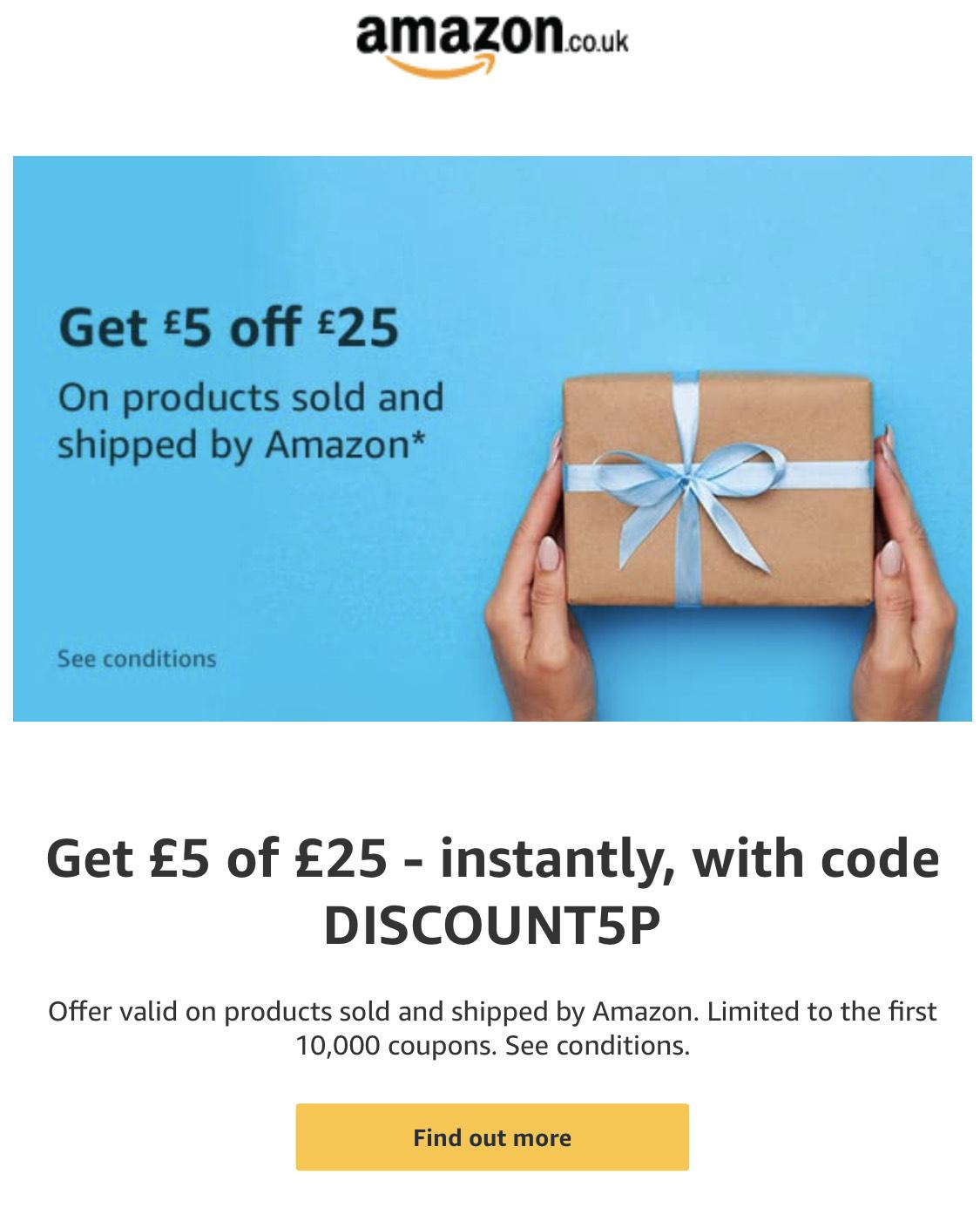 Amazon UK Gutschein 5£ bei einer 25£ Bestellung nur bei Banner oder Einladung!