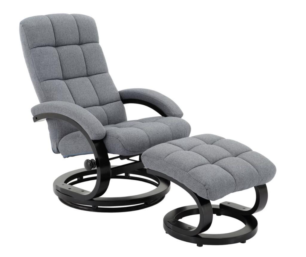 Relaxsessel mit Drehgestell & Hocker / Bezug: Leinen / max. Belastung ca. 120 kg