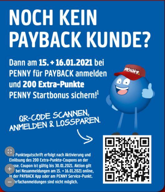 [PENNY PAYBACK] Über PENNY bei PAYBACK anmelden und 200 Punkte geschenkt bekommen