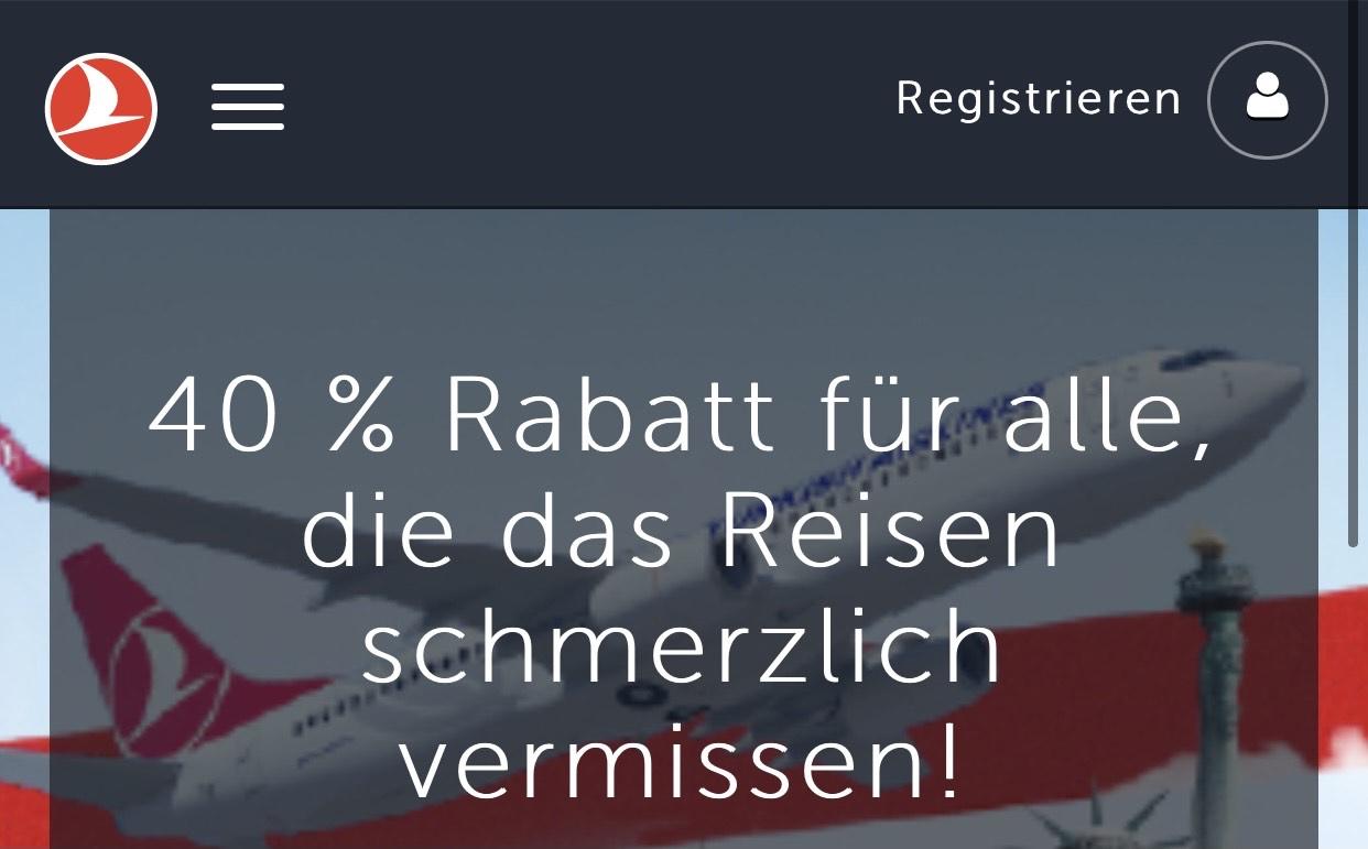 Turkish Airlines: 40% Rabatt [Reisezeitraum 01.04. - 31.12.2021]