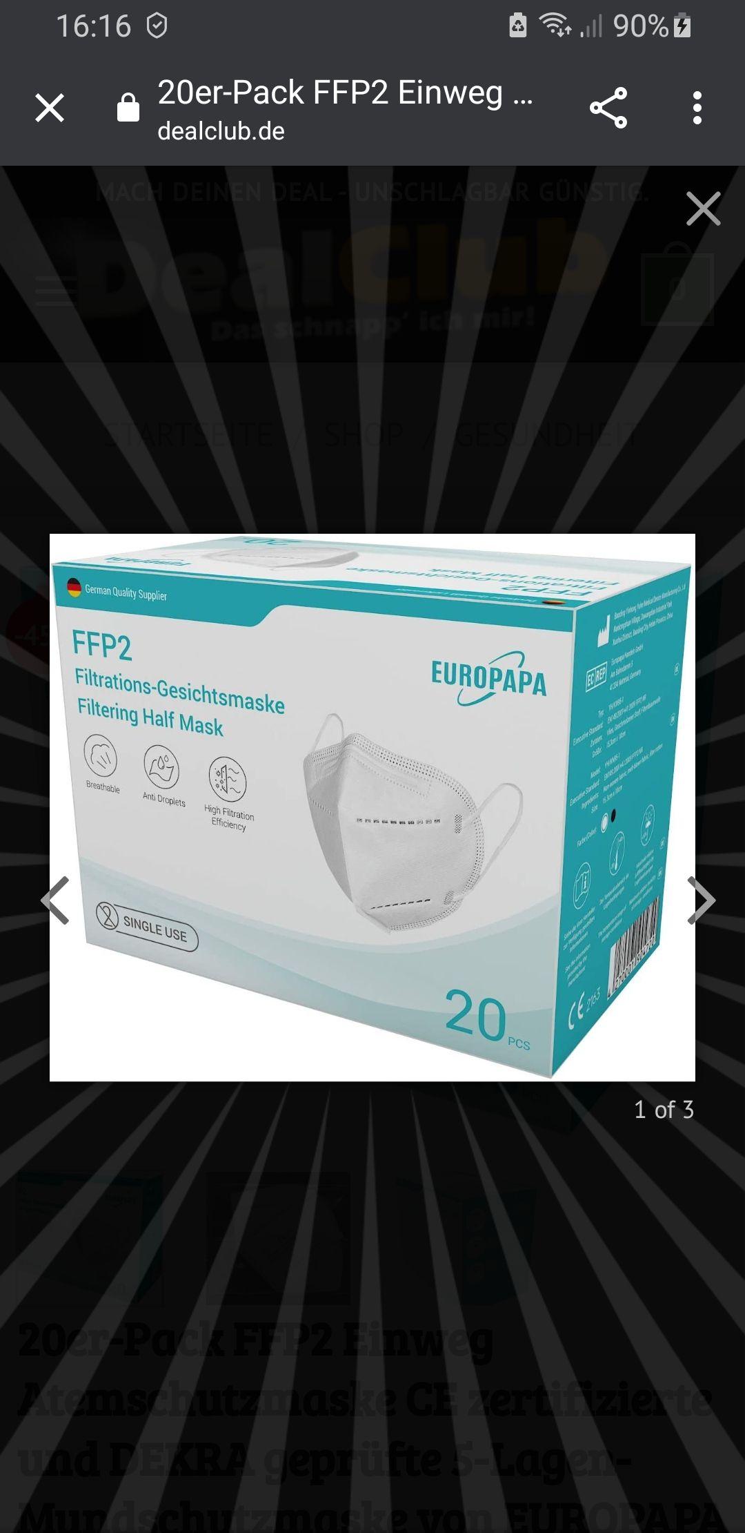 FFP2 Masken von Dekra geprüft 20 St. Für 21.89€ Versand aus Deutschland.
