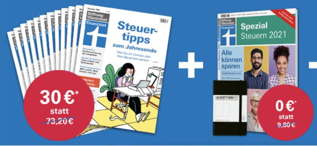 """12 Ausgaben Finanztest + Sonderheft """"Finanztest Spezial Steuern 2021"""" + Notizbuch für 30€"""