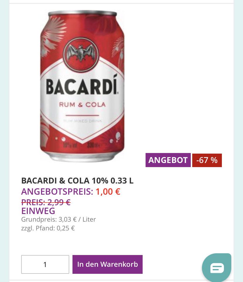 Durstexpress Berlin: je 0,33 für 1€ Bacardi Cola / Morgan Cola / Havanna Cola / Jack Cola / Beam Cola