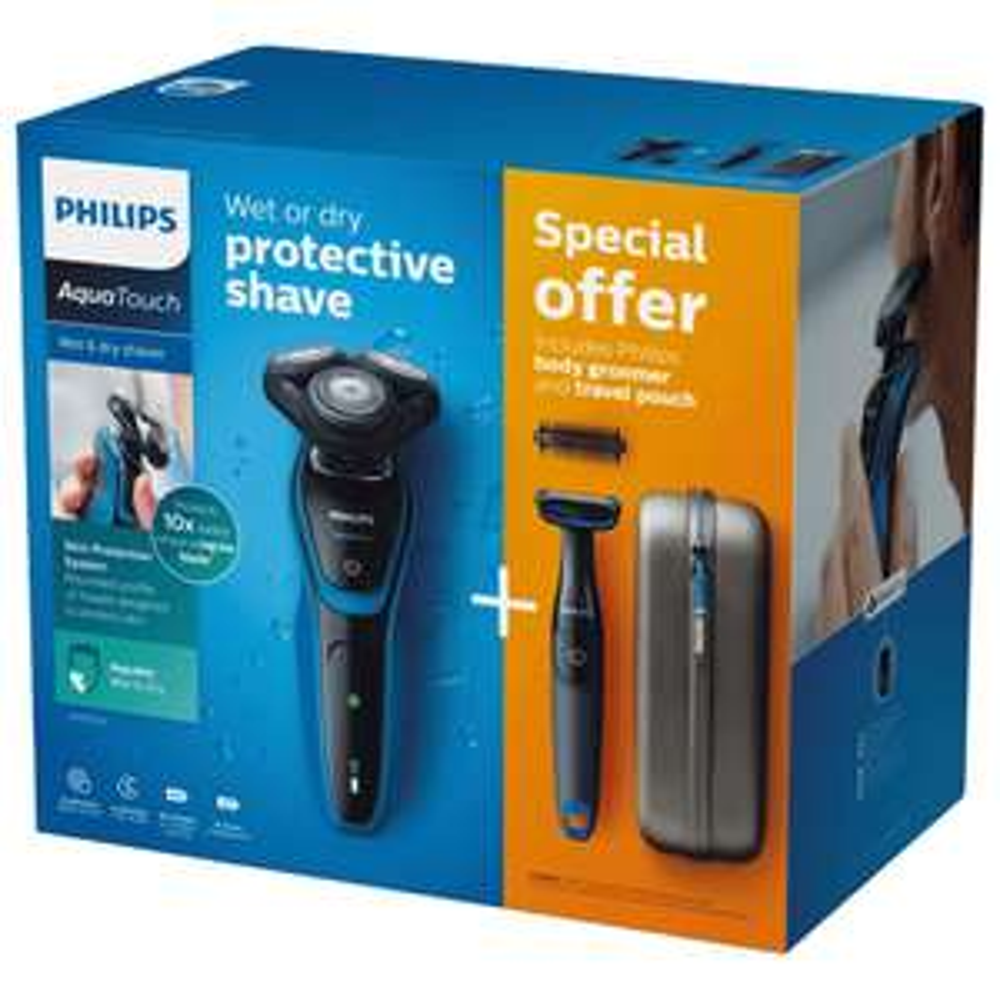 Philips AquaTouch Elektrischer Nass- und Trockenrasierer S5050/64 (inkl. Bodygroom und Etui) bei REWE online