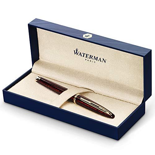 [Amazon Prime] Waterman Carène Marine Amber Füllfederhalter (Braun und Schwarz mit Clip aus 23-karätigem Gold, Federstärke M, blaue Tinte)