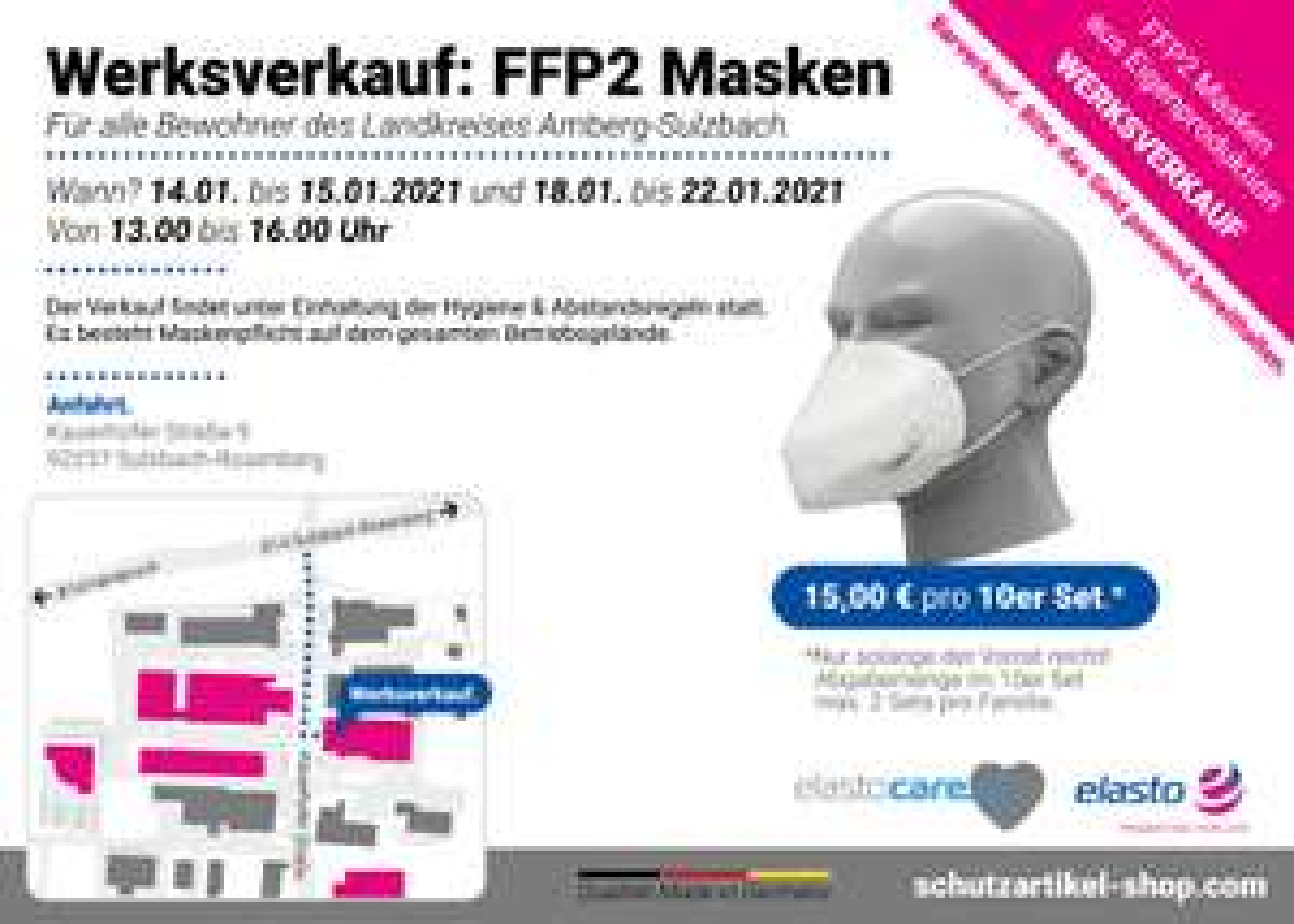 [lokal] Werksverkauf FFP2 Masken (10er Set) hergestellt und verkauft in Sulzbach-Rosenberg
