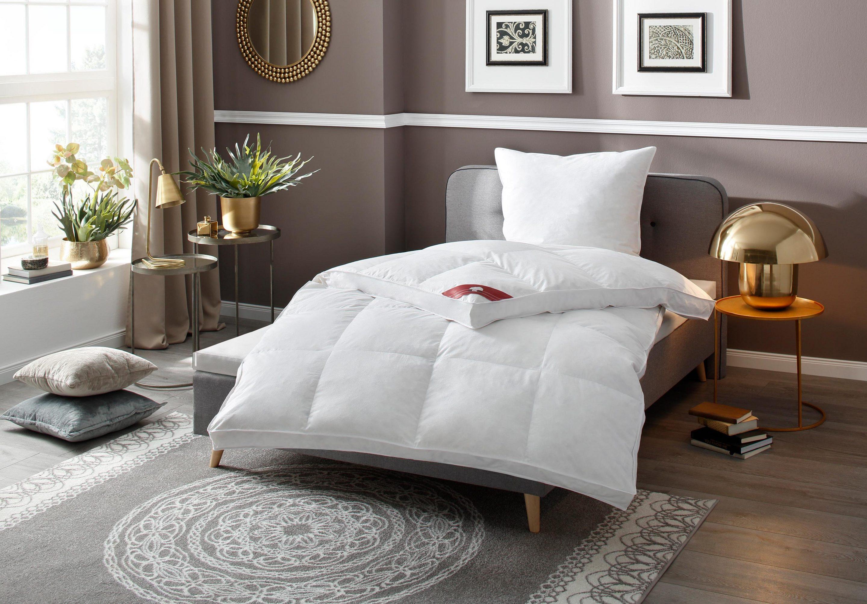 [Schlafwelt] RIBECO Federbettdecke, extra prall, extrawarm, Füllung: 100% Federn, Bezug: 100% Baumwolle + gratis Kopfkissen
