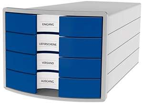 HAN Schubladenbox IMPULS 2.0 – innovatives, attraktives Design in höchster Qualität. Mit 4 geschlossenen Schubladen, lichtgrau-blau, 1012-14