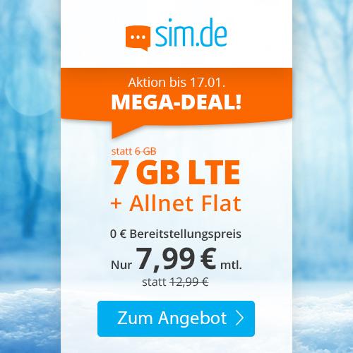 7GB LTE sim.de Tarif für mtl. 7,99€ mit Allnet- & SMS-Flat + VoLTE & WLAN Call (3 Monate / 24 Monate; Telefonica-Netz)