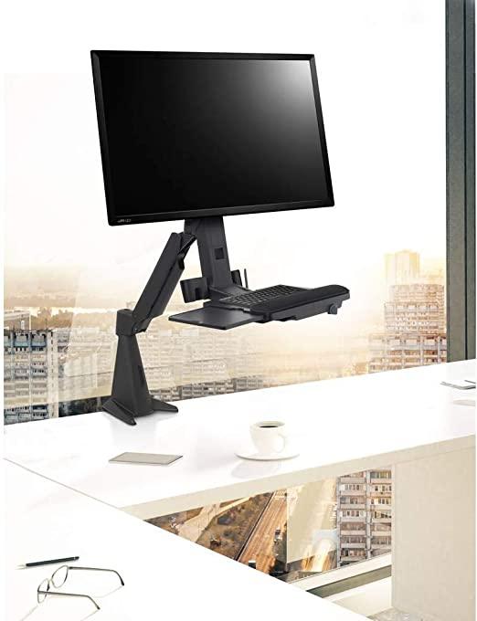 SpeaKa Ergofit Workstation Sitz-Steh-Schreibtischaufsatz (Schwarz)