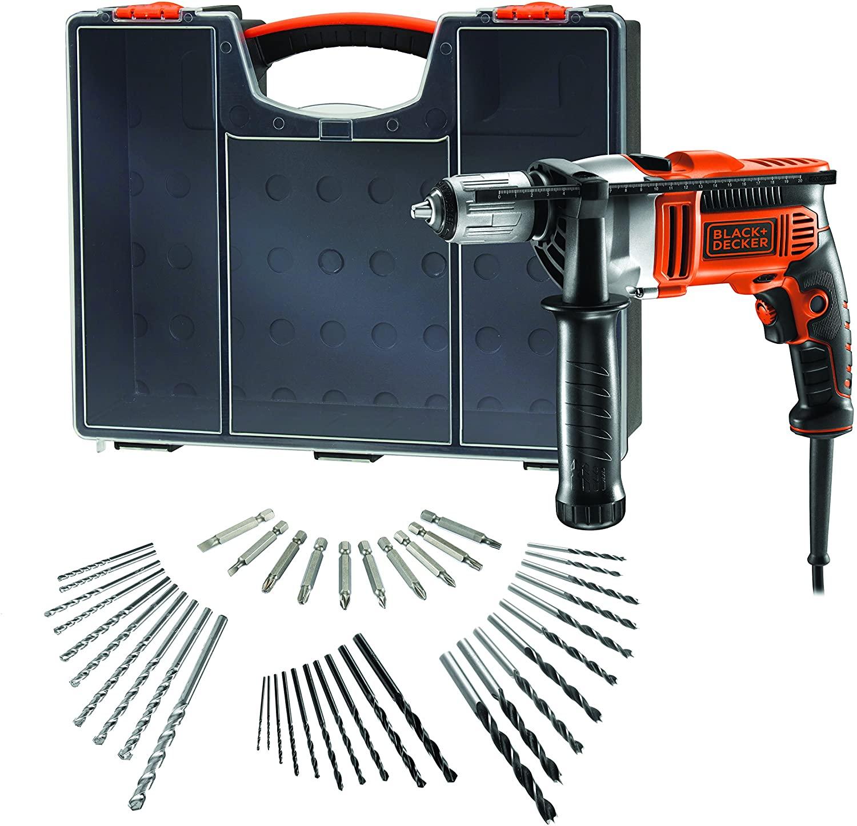 BLACK+DECKER Schlagbohrmaschine KR806OA-QS inkl. Koffer + 40-tlg. Zubehör-Set