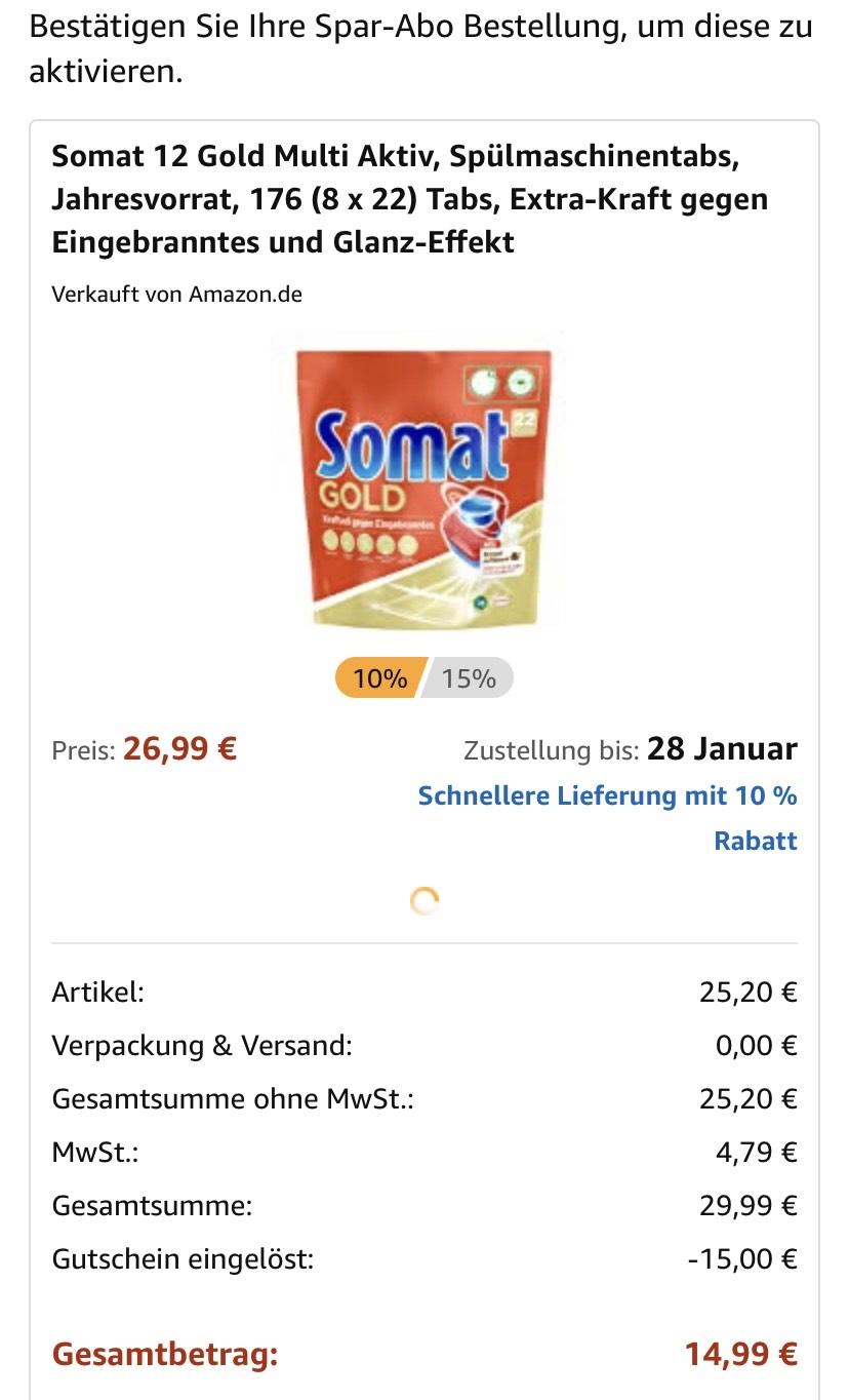 [Gutscheinfehler] Somat Gold 12, 176 Stück, Amazon Sparabo (evtl. personalisiert)