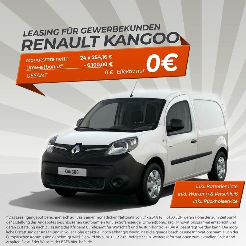 [Gewerbeleasing] GRATIS Renault Kangoo Z.E. Elektro (60 PS) inkl. Überführung und Wartung & Verschleiß - LF: 0,00