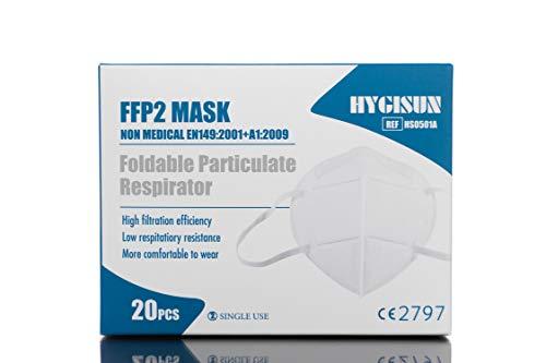 20 x Hygisun FFP2 (CE zertifizierte & DEKRA geprüfte) Masken