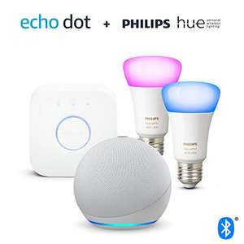 Echo Dot (4. Generation) + Philips Hue Color E27 2-er Starter Set [Amazon]